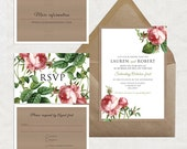 sweet rose wedding invitation suite - rustic floral kraft paper effect printable invite vintage botanical illustration country flowers rsvp