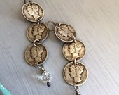 Mercury Dime and Pearl Dangle Earrings RESERVED  for Cathy