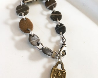 Beach Stone and Sterling Silver Bracelet with Vintage Brass Padlock