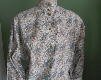 Off-White/Blue/Peach Paisley 60's Cotton Blouse - Size L