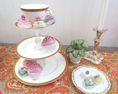 Cupcake Stand made from Vintage Royal Doulton Gold Encrusted Bone China, 3 Tier