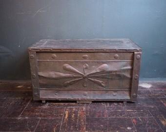 Primitive Paneled Tin Wooden Trunk / Folk Art Chest