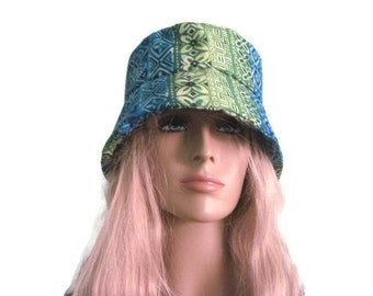 Bucket Hat Tropical Hat Green Blue Print Festival Hat Beach  Hat Pool Hat
