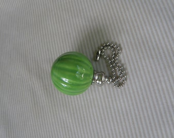 Fluted Pottery Fan Pull - Green Apple (New Color) - Nickel or Brass Hardware - USA Made