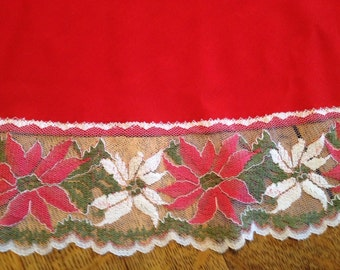 Vintage Red Tablecloth with Poinsettia Lace Trim