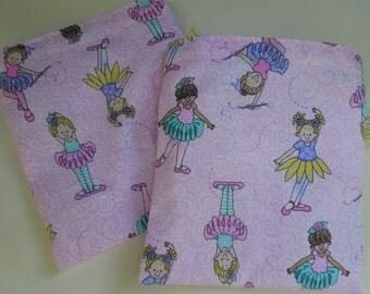 Reusable sandwich and/or snack bag - Reusable sandwich bag - Reuse snack bag - Fabric reusable sandwich bag set -  Glitter ballerinas
