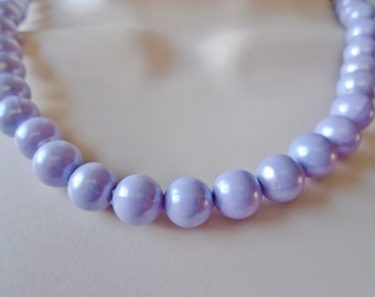 Vintage Cookie Lee Lucite Pastel Pearlescence Lavender Necklace Choker Beaded 70's Retro Gift Retro Runway Mothers Day Graduation Gift