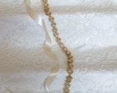 Gold Crystal Rhinestone Bridal Sash,Wedding sash,Belts And Sashes,Bridal Accessories,Bridal Belt and sashes,Ribbon Sash,Style # 27
