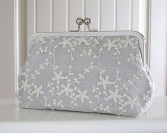 Meadow Lace Clutch Wedding Clutch,Bridal Accessories,Grey Mist Bridal Clutch,Lace Clutch,Bridal Clutch,Bridesmaid Clutches