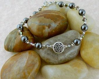 Celtic Knot beaded bracelet with hematite gemstone and Swarovski crystal beads