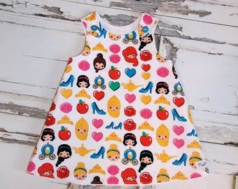 Disney Emoji Princess Aline Dress Sz 2T 3T 4T 5 6 7 8 10 Birthday Cinderella Snow White Jasmine Ariel Little Mermaid Sleeping Beauty