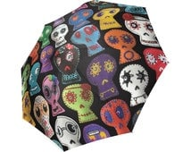Sugar Skull Umbrella - photo-realistic embroidered sugar skulls - foldable umbrella - Halloween umbrella - day of the dead umbrella