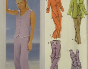 Simplicity 5565 Uncut Sewing Pattern Misses Womens Pants in 2 Lengths, Shorts, Tops Size 6-12 Bust 30.5-34 in Easy Sew 2003