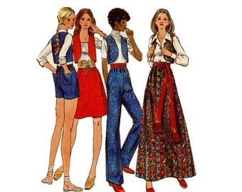 1970s Pants Skirt Bolero Pattern Easy Pull On Pants or Shorts A Line Mini Maxi Skirt Vest Butterick 6169 Bust 36 Vintage Sewing Pattern