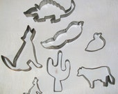 Vintage Tin Cookie Cutters - Southwest- Cactus, Coyote, Armadillo, Cow - Baking - Crafts