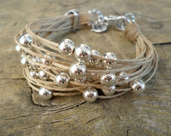 cord beaded bracelet with silver beads, string bracelet, fiber jewelry, multistring bracelet handmade in Italy