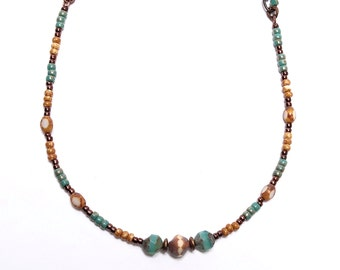 Beaded Necklace, Teal and Camel Necklace, Glass and Chain Necklace, Sedona Collection