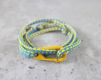 Cord Tiga - yellow blue swede nylon cord wrap bracelet with clasp, adjustable size