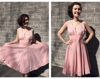 1950s Perfectly Pink Princess Prom Party Dress