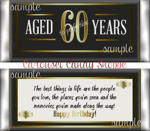 60th Birthday Party Favors Hershey S Candy Bar Wrappers