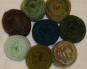 CLOSE-OUT SALE - Merino Wool Silk Roving Felting Spinning Kit - Blending Board Roving - Green Wool Roving - Rain Forest