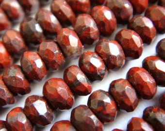 23. Poppy Jasper 2x4mm or 6x10mm Faceted Rondelle 16 Inches Strand Stone Bead