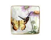 Small Wall Clock, 6 Inch Butterfly Clock, Coneflower Clock, Echinacea Wall Clock, Ceramic Plate Wall Clock, Unique Wall Decor, SILENT- 1937