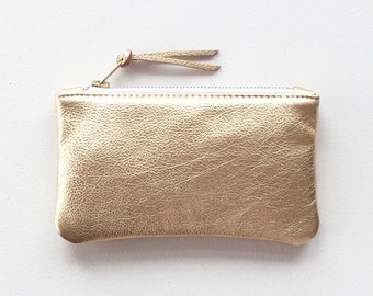 Gold Leather Clutch, Cell Phone Pouch, Metallic Leather Wallet, Evening Clutch, Wedding Clutch, Small Cosmetic Bag, Small Bridesmaid Clutch