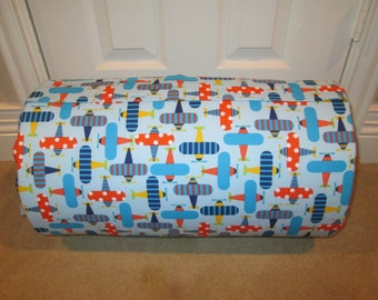 MONOGRAMMED Childrens Pre School THICK COMFY Nap Mat Airplanes Organic Cotton w/Attached Dotted Minky Blanket Attached Pillow