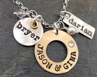Family mixed metal collage style necklace