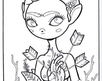 Frida Kahlo -Adult Lowbrow Art Coloring Page - jpg and pdf instant download - pop surrealist line art
