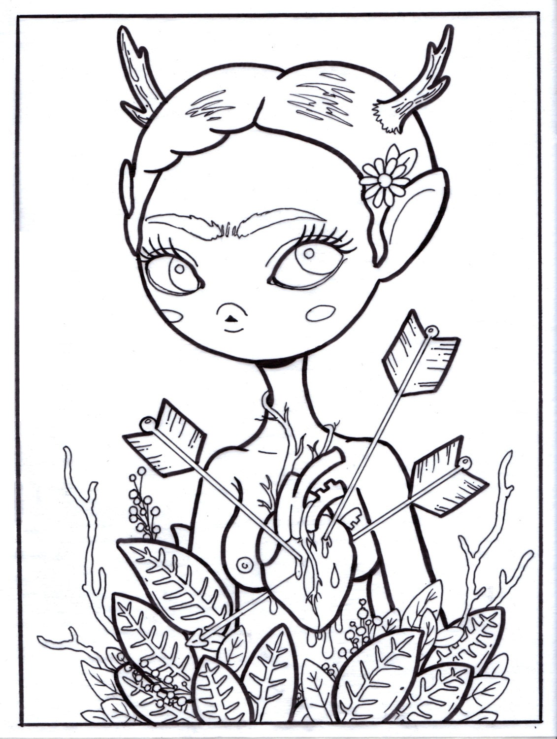 frida kahlo printable coloring pages - frida kahlo adult lowbrow art coloring page jpg and by