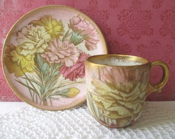 DEMITASSE Cup And Saucer * B. & M. China * Peony Flower Design * Gold Gilt * Bagshaw And Maier