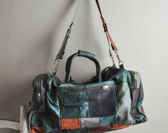 Vintage Amazing Patchwork Leather Duffel Bag Travel Luggage