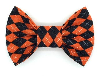 Halloween Argyle Snap-In Dog Bows® Tie, Halloween Pet Bow Ties, Gift for Therapy Pet, Halloween Pet Boutique, Unique Halloween Pet Bow Tie