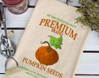NEW*** Fall Flour Sack Towel, Pumpkin Seeds Kitchen Towel, Cotton Towel, Tea Towel, Fall Towel, Pumpkin Dish Towel, Premium Pumpkin Seeds