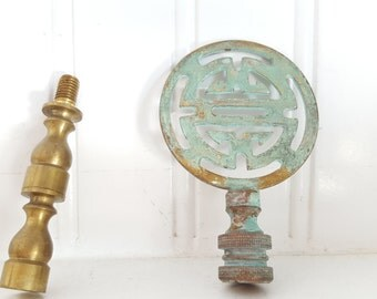 Finial, Brass With Green Oxidization and Extra Lamp Parts