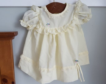 Vintage Yellow Baby Dress 6/9 Months