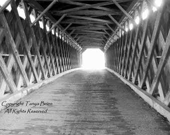 Ghost Bridge, Black and White, Covered Bridge, Haunted, Eerie, Rural, Farmhouse Chic, Fine Art Photography
