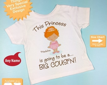 Girl's Red Haired Princess is going to be a Big Cousin Tee Shirt or Onesie, personalized Pregnancy Announcement (05282014b)