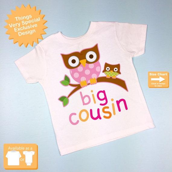 Girl's Big Cousin Shirt with owls, Toddler Big Cousin Shirt (04022012a)