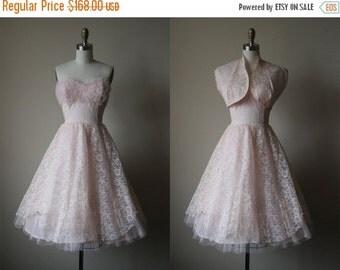 ON SALE 1950s Dress - Vintage 50s Dress - Pink Chantilly Lace Tulle Bust Shelf Prom Party Dress w Bolero XS - Pixie Stix Dress