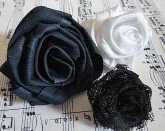 Handmade rolled roses, seam binding, satin and lace