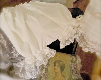 Matching Pantaloons Vintage Inspired Heirloom  Juvie Moon Designs Ivory or White Baby Pantaloons Lace and Silk Ribbon