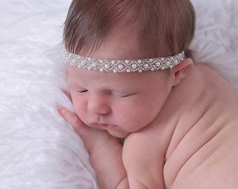 Christening Headband,Baby Baptism Headband,Baby Headband,Baby Rhinestone Headband,White Headband,Rhinestone Headband,Paola Headband