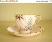 Pink cup & saucer, Tuscan Fine English Bone China flowered teacup set, high tea, 22 kt gold trim, tea service, collectible china