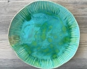 Serving Ceramic plate , beach plate, platter, turquoise serving plate by Christiane Barbato