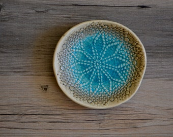 "Ring dish in Caribbean Blue glaze - 5"" star lovely calming romantic coastal turquoise soap dish"