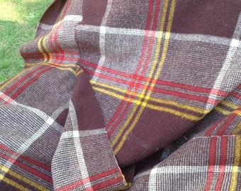 Vintage Plaid Wool Blanket Brown and Red
