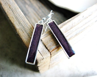 Purple Bar Earrings, Minimalist Earrings, Boho Earrings, Long Dangle Earrings, Silver Bar Earrings, Resin Jewelry